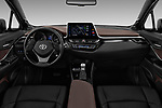 Stock photo of straight dashboard view of 2017 Toyota C-HR C-Show 5 Door SUV Dashboard