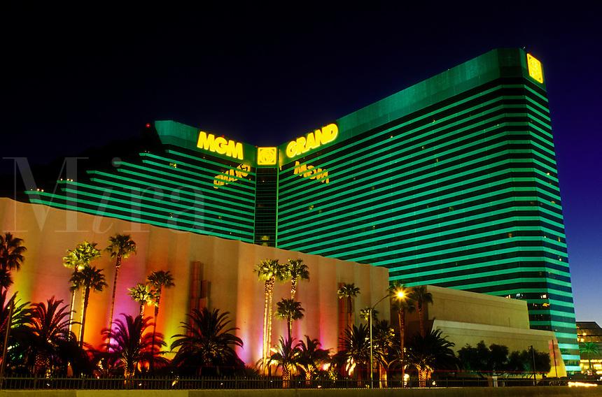 Las Vegas, MGM Hotel & Casino, Nevada, NV, The Strip, MGM Grand Hotel & Casino on The Strip at night in Las Vegas, the Entertainment Capital of the World.