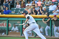 Grant Green (7) of the Salt Lake Bees at bat against the Fresno Grizzlies in Pacific Coast League action at Smith's Ballpark on June 13, 2015 in Salt Lake City, Utah.  (Stephen Smith/Four Seam Images)