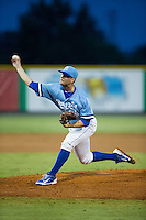 Burlington Royals relief pitcher Chase Darhower (28) delivers a pitch to the plate against the Pulaski Yankees at Burlington Athletic Park on August 6, 2015 in Burlington, North Carolina.  The Royals defeated the Yankees 1-0. (Brian Westerholt/Four Seam Images)