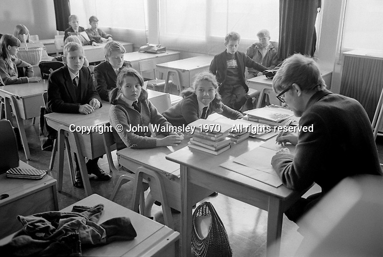Taking the class register, Whitworth Comprehensive School, Whitworth, Lancashire.  1970.