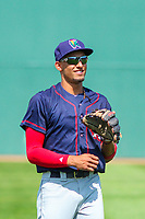 Cedar Rapids Kernels shortstop Royce Lewis (30) warms up prior to a Midwest League game against the Beloit Snappers on September 3, 2017 at Pohlman Field in Beloit, Wisconsin. Beloit defeated Cedar Rapids 3-2. (Brad Krause/Four Seam Images)