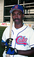 Orlando Cubs Doug Glanville (10) poses for a photo before a 1994 Southern League game at Tinker Field in Orlando, Florida.  (Tyler Bolden/Four Seam Images)
