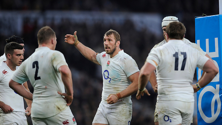 Chris Robshaw of England brings his team together after Will Skelton of Australia scores a try during the QBE International match between England and Australia at Twickenham Stadium on Saturday 29th November 2014 (Photo by Rob Munro)