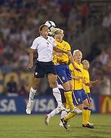 US midfielder Shannon Boxx (7) and Sweden midfielder Lisa Dahlkvist (17) battle for head ball. The US Women's national team beat Sweden, 3-0, at Rentschler Field on July 17, 2010.