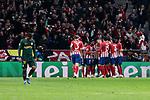 Atletico de Madrid's players celebrate goal during UEFA Champions League match between Atletico de Madrid and AS Monaco at Wanda Metropolitano Stadium in Madrid, Spain. November 28, 2018. (ALTERPHOTOS/A. Perez Meca)
