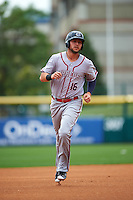 Syracuse Chiefs Matt Skole (16) runs the bases on a Jason Martinson (not shown) grand slam home run during a game against the Buffalo Bisons on July 31, 2016 at Coca-Cola Field in Buffalo, New York.  Buffalo defeated Syracuse 6-5.  (Mike Janes/Four Seam Images)