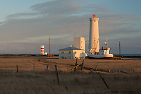 Garðskagi Lighthouses, the old and the new, are situated on the northenmost point of Reykjanes Peninsula near Reykjavik, Iceland in the North Atlantic.