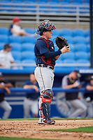 Lakeland Flying Tigers catcher Kade Scivicque (25) during a game against the Dunedin Blue Jays on July 31, 2018 at Dunedin Stadium in Dunedin, Florida.  Dunedin defeated Lakeland 8-0.  (Mike Janes/Four Seam Images)