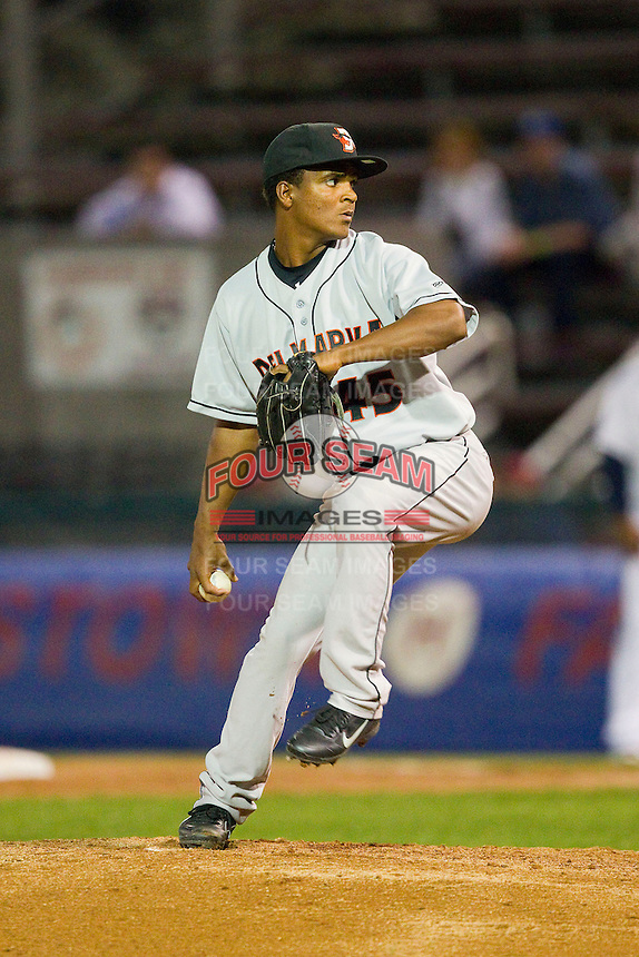 Delmarva Shorebirds relief pitcher Miguel Chalas (45) in action against the Hagerstown Suns at Municipal Stadium on April 11, 2013 in Hagerstown, Maryland.  The Shorebirds defeated the Suns 7-4 in 10 innings.  (Brian Westerholt/Four Seam Images)
