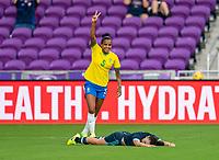ORLANDO, FL - FEBRUARY 18: Geyse #5 of Brazil celebrates during a game between Argentina and Brazil at Exploria Stadium on February 18, 2021 in Orlando, Florida.