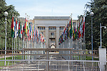 Rows of flags in front of the United Nations in Geneva, Switzerland