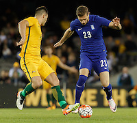 June 7, 2016: ATHANASIOS PAPAZOGLOU (23) of Greece controls the ball during an international friendly match between the Australian Socceroos and Greece at Etihad Stadium, Melbourne. Photo Sydney Low