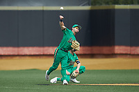 Notre Dame Fighting Irish center fielder Spencer Myers (2) throws the ball back to the infield during the game against the Wake Forest Demon Deacons at David F. Couch Ballpark on March 10, 2019 in  Winston-Salem, North Carolina. The Demon Deacons defeated the Fighting Irish 7-4 in game one of a double-header.  (Brian Westerholt/Four Seam Images)