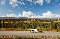 Motorhome travels George Parks highway, Interior, Alaska.