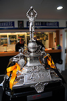 The ISPS Handa Premiership trophy stands on display in the clubrooms during the Central League football match between Miramar Rangers and Lower Hutt AFC at David Farrington Park in Wellington, New Zealand on Saturday, 10 April 2021. Photo: Dave Lintott / lintottphoto.co.nz