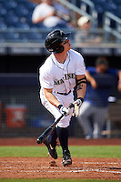 Peoria Javelinas Tyler O'Neill (11), of the Seattle Mariners organization, hits a home run during a game against the Surprise Saguaros on October 12, 2016 at Peoria Stadium in Peoria, Arizona.  The game ended in a 7-7 tie after eleven innings.  (Mike Janes/Four Seam Images)