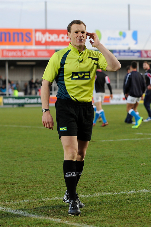 Referee Neil Hennessey of Wales during the LV= Cup match between Exeter Chiefs and Bath Rugby at Sandy Park Stadium on Sunday 5th February 2012 (Photo by Rob Munro)