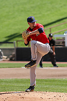 Cedar Rapids Kernels starting pitcher Cody Laweryson (20) delivers a pitch during a game against the Wisconsin Timber Rattlers on September 8, 2021 at Neuroscience Group Field at Fox Cities Stadium in Grand Chute, Wisconsin.  (Brad Krause/Four Seam Images)