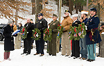 WINSTED, CT-121617JS06---Lynn Beach Schrock, left, defense secretary of the Brooks-Green Woods Chapter of the National Society Daughters of the American Revolution, was the master of ceremonies during the Wreaths Across America ceremony Saturday at Forest View Cemetery in Winsted. The event was hosted by the Jim Shannon Republican-American