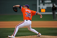 Pitcher Matt Campbell (36) of the Clemson Tigers in a game against the South Carolina Gamecocks on Saturday, March 2, 2013, at Fluor Field at the West End in Greenville, South Carolina. Clemson won the Reedy River Rivalry game 6-3. (Tom Priddy/Four Seam Images)