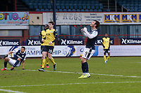 20th February 2021; Dens Park, Dundee, Scotland; Scottish Championship Football, Dundee FC versus Queen of the South; Danny Mullen of Dundee reacts after missing a great scoring chance
