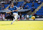 St Johnstone v East Fife…14.07.18…  McDiarmid Park    League Cup<br />Drey Wright scores during the penalty shootout to win it for sainst after Craig Thomson's penalty was saved by Zander Clark<br />Picture by Graeme Hart. <br />Copyright Perthshire Picture Agency<br />Tel: 01738 623350  Mobile: 07990 594431
