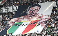 Calcio, Serie A: Juventus - Hellas Verona, Torino, Allianz Stadium, 19 maggio, 2018.<br /> Juventus' fans display a banner in reference to Gianluigi Buffon before the Italian Serie A football match between Juventus and Hellas Verona at Torino's Allianz stadium, 19 May, 2018.<br /> Juventus won their 34th Serie A title (scudetto) and seventh in succession.<br /> Gianluigi Buffon played his last match with Juventus today after 17 years.<br /> UPDATE IMAGES PRESS/Isabella Bonotto