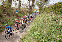 Team Jumbo-Visma packed around team leaders Primož Roglič (SVN/Jumbo-Visma) & Wout van Aert (BEL/Jumbo-Visma)<br /> <br /> 55th Amstel Gold Race 2021 (1.UWT)<br /> 1 day race from Valkenburg to Berg en Terblijt; raced on closed circuit (NED/217km)<br /> <br /> ©kramon