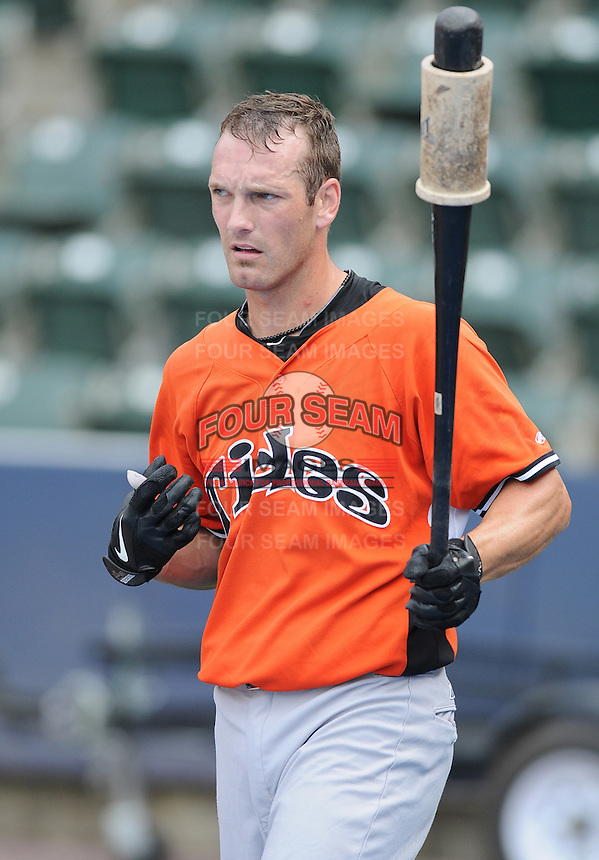 Infielder Nick Green (5) of the Norfolk Tides, International League affiliate of the Baltimore Orioles, prior to a game against the Scranton/Wilkes-Barre Yankees on June 20, 2011, at PNC Park in Moosic, Pennsylvania. (Tom Priddy/Four Seam Images).