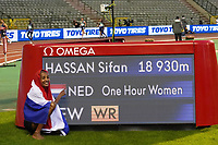 5th September 2020, Brussels, Netherlands; Memorial van Damme  1 Hour race women, Sifan Hassan stands next to the display showing her new world record