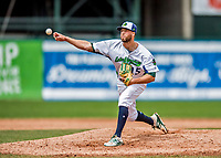 25 July 2017: Vermont Lake Monsters pitcher Marc Berube on the mound against the Tri-City ValleyCats at Centennial Field in Burlington, Vermont. The Lake Monsters defeated the ValleyCats 11-3 in NY Penn League action. Mandatory Credit: Ed Wolfstein Photo *** RAW (NEF) Image File Available ***
