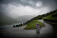 Stefan Küng (SUI/Groupama-FDJ) descending the Col du Pré (HC/1748m) towards the Barrage de Roselend in, yet again, grim conditions.<br /> <br /> Stage 9 from Cluses to Tignes (145km)<br /> 108th Tour de France 2021 (2.UWT)<br /> <br /> ©kramon
