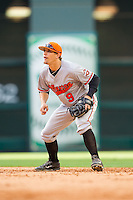 Sam Houston State Bearkats second baseman Ryan Farney #9 on defense against the Texas Christian Horned Frogs at Minute Maid Park on February 28, 2014 in Houston, Texas.  The Bearkats defeated the Horned Frogs 9-4.  (Brian Westerholt/Four Seam Images)