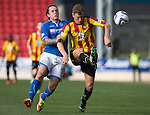 St Johnstone v Partick Thistle...28.09.13      SPFL<br /> Aaron Muirhead battles with Stevie May<br /> Picture by Graeme Hart.<br /> Copyright Perthshire Picture Agency<br /> Tel: 01738 623350  Mobile: 07990 594431