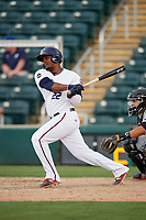 Fort Myers Miracle third baseman Brian Navarreto (22) follows through on a swing during a game against the Jupiter Hammerheads on April 9, 2017 at CenturyLink Sports Complex in Fort Myers, Florida.  Jupiter defeated Fort Myers 3-2.  (Mike Janes/Four Seam Images)