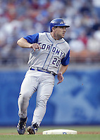 Ken Huckaby of the Toronto Blue Jays runs the bases during a 2002 MLB season game against the Los Angeles Dodgers at Dodger Stadium, in Los Angeles, California. (Larry Goren/Four Seam Images)
