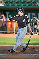 Tyler Nevin (6) of the Grand Junction Rockies at bat against the Ogden Raptors in Pioneer League action at Lindquist Field on July 6, 2015 in Ogden, Utah. Ogden defeated Grand Junction 8-7. (Stephen Smith/Four Seam Images)