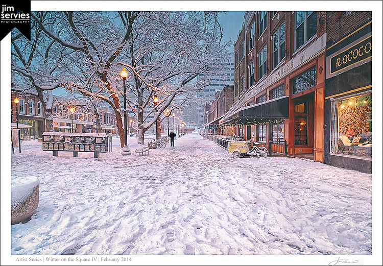 """The fourth print in a four part series entitled: """"Winter on the Square"""".  Please see the """"Fine Art 