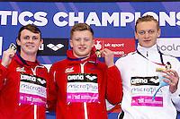 100 Breaststroke men (L to R)  MURDOCH Ross GBR silver; PEATY Adam GBR Gold; TITENIS Giedrius LTU<br /> 100 Breaststroke men podium<br /> Queen Elizabeth II Olympic Park Pool <br /> LEN 2016 European Aquatics Elite Championships <br /> Swimming day 02 finals<br /> Day 09 17-05-2016<br /> Photo Giorgio Scala/Deepbluemedia/Insidefoto