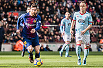Lionel Messi of FC Barcelona (L) in action against Stanislav Lobotka of RC Celta de Vigo (R) during the La Liga 2017-18 match between FC Barcelona and RC Celta de Vigo at Camp Nou Stadium on 02 December 2017 in Barcelona, Spain. Photo by Vicens Gimenez / Power Sport Images