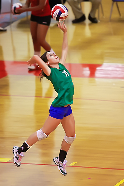 Green Valley Senior Taylor Seidler serves against SECTA.