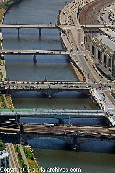 aerial photograph of bridges crossing the Schuylkill River, Philadelphia, Pennsylvania