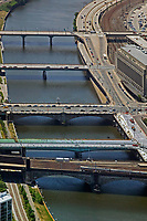 aerial photograph of bridges crossing the Schuylkill River, Philadelphia, Pennsylvania