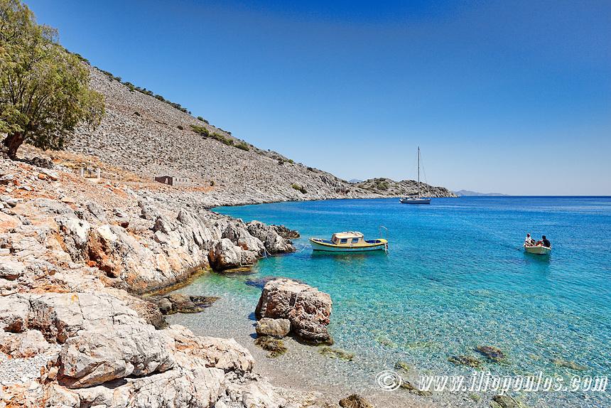 Marathounta beach in Symi island, Greece