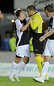 14/09/2009  Copyright  Pic : James Stewart.sct_jspa01_falkirk_v_aberdeen  .FALKIRK PLAYERS SCOTT ARFIELD AND ROBERT OLEJNIK CLASH AFTER AN ARGUMENT.James Stewart Photography 19 Carronlea Drive, Falkirk. FK2 8DN      Vat Reg No. 607 6932 25.Telephone      : +44 (0)1324 570291 .Mobile              : +44 (0)7721 416997.E-mail  :  jim@jspa.co.uk.If you require further information then contact Jim Stewart on any of the numbers above.........