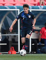 DENVER, CO - JUNE 3: Giovanni Reyna #7 of the United States moves towards the box during a game between Honduras and USMNT at EMPOWER FIELD AT MILE HIGH on June 3, 2021 in Denver, Colorado.