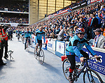 Cyclists at half-time after compleing a sponsored trek from Inverness for the Rangers Charity Foundation