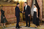 King Felipe VI of Spain (2R) and Queen Letizia of Spain (R) receive Spanish prime minister Pedro Sanchez (2L) and wife Begona Gomez (L) because of the United Nations conference for the Climate Summit 2019 (COP25) at the Royal Palace. December 2,2019. (ALTERPHOTOS/Pool/Carlos Alvarez)