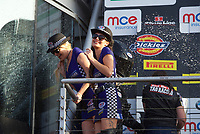 Josh Brookes of Anvil Hire Tag Racing sprays the MCE girls with Champagne after the final of the MCE British Superbikes in Association with Pirelli round 12 2017 - BRANDS HATCH (GP) at Brands Hatch, Longfield, England on 15 October 2017. Photo by Alan  Stanford / PRiME Media Images.